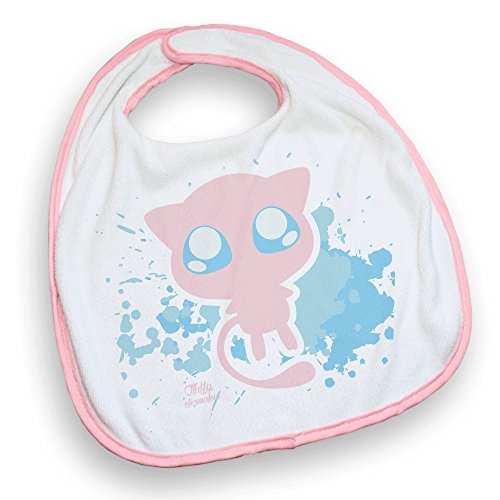 Bavoir Rose Pokemon Mew pastel, chibi et kawaii - Fabriqué en France - Chamalow Shop