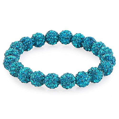 Morella® Damen Armband Perlen mit Zirkoniasteinen elastisch Petrol
