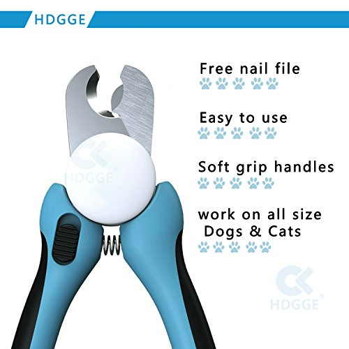 Nagel-Klipper-beste Berufshunde-Nagelscherer mit FREIER Nagel-Akte. Haustier-Greifer-Trimmer mit einzigartiger angehobener Spitze, super scharfe Klingen und bequemer Gummi-Beleg-freie Griffe. Geeignet für kleine, mittlere und große Hunde. (DOG-600 Blue) - 5