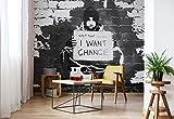 Banksy Graffiti Backsteinmauer - Wallsticker Warehouse - Fototapete - Tapete - Fotomural - Mural Wandbild - (2897WM) - XL - 208cm x 146cm - VLIES (EasyInstall) - 2 Pieces