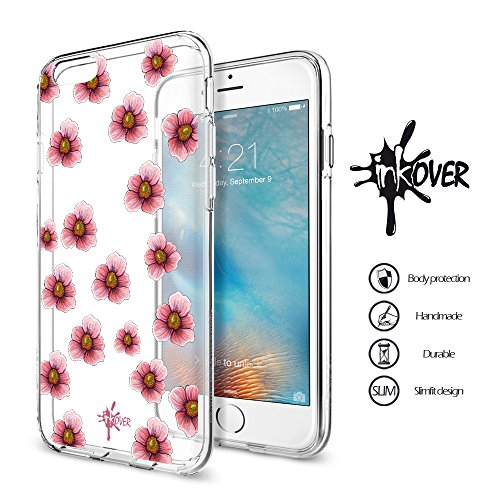 Cover iPhone 6 / 6S PLUS - INKOVER - Custodia Cover Protettiva Guscio Soft Case Bumper Trasparente Sottile Slim Fit Tpu Gel Morbida INKOVER Design Pirati Pirates Corsaro Teschio SKULL per APPLE iPhone FIORI