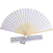 20pcs Abanico Plegable de Mano Tela Regalo Recuerdo Detalle para Invitados de Boda Fiesta o Baile Arte Madera con Caja Papel para Guardar (Blanco)