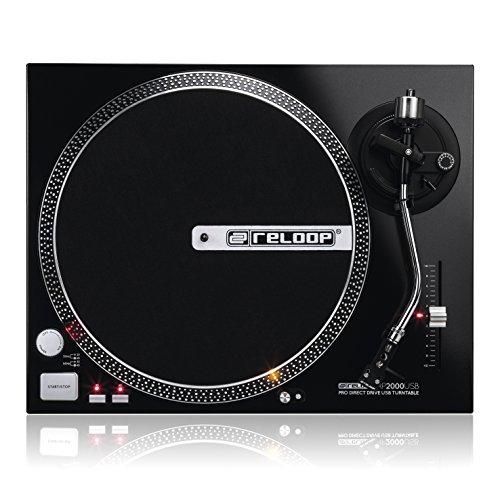 Reloop RP-2000 USB – DJ Plattenspieler mit quarzgesteuerten Direktantrieb mit Phono/Line- und USB-Audio-Ausgang, (schwarzmetallic)