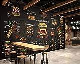 BZDHWWH Kundenspezifisches 3D Tapeten-Wandbild Hand Gezeichnetes Buntes Schnellimbißburger-Shopdekoration-Tapetenkontaktpapier der Kreide Burger,200cm (H) x 300cm (W)