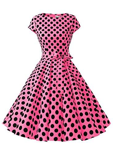 Dressystar Robe à 'Audrey Hepburn' Classique Vintage 50's 60's Style à mancheron Fuchsia à pois noir B