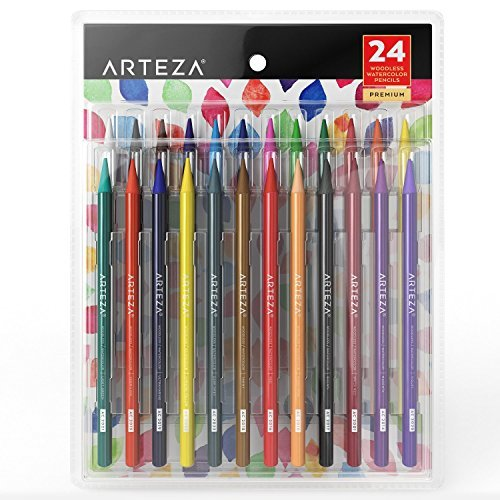 ARTEZA Juego de lápices sin madera para acuarela | Lápices de colores acuarelables | Set de 24 lapiceros ecológicos para pintar acuarelas