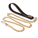 IFLYTREE JEWELRY Heavy Duty Full Gold Edelstahl Hund Choke Kette Halsband Pet Training Leine Leder Griff Chrom
