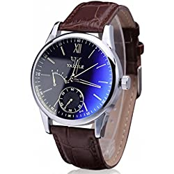 Koly Luxury Fashion Faux Leather Mens Blue Ray Glass Quartz Analog Watches Brown