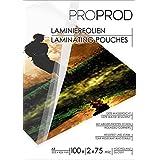 PROPROD Premium Pack de 100 Pochettes de plastification A3 75 microns finition brillante Transparent