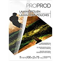 PROPROD Premium Pack de 100 Pochettes de plastification A3 75 microns finition brillante Transparent