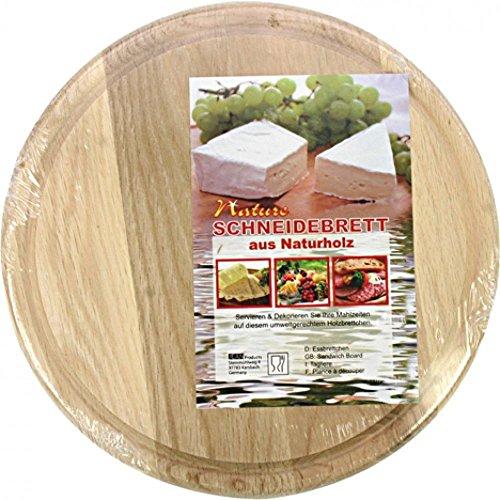 4 x Frühstücksbrett Schneidebrett rund mit Saftrille 23cm aus Naturholz OSM14