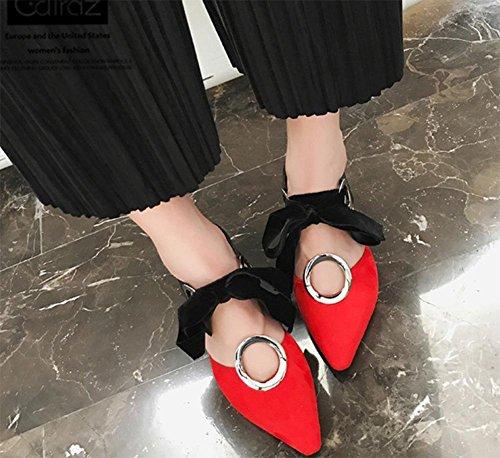 Baotou Sommer dick mit weiblichen hochhackigen Sandalen Metallschnalle spitze Schuhe Sandalen Bogen Red