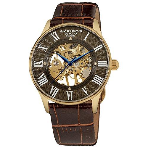 Akribos XXIV orologio da uomo meccanico slim con cinturino in pelle AK499YG Bravura