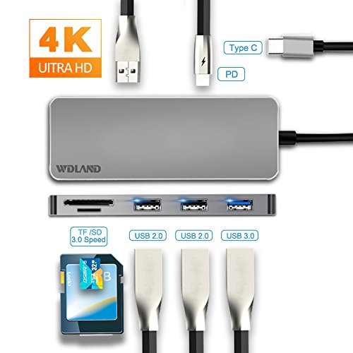 ARMANII USB Adapter, 7-in-1 HDMI USB Adapter with USB 3.0, 4K HDMI Port, USB c Charging Port, 2 x USB 2.0, SD & Micro SD Card Reader - For MacBook Pro, Chromebook Pixel, Samsung S8 and More