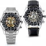 JewelryWe 2 Relojes de acero inoxidable con correa de piel, mecánico para hombre