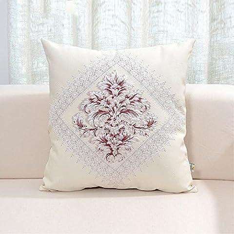 chimique Fibre Canapé Taie d'oreiller européenne de chevet, coussins, voiture, bureau, Coton, Rouge diamant, 50 * 50cm core