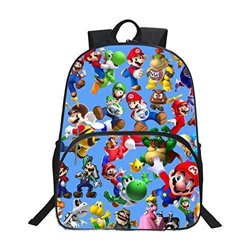 Hhalibaba Anime Schultasche Cartoon Super Mario Rucksack für Jugendliche, Mädchen Rucksack Schultasche, Groß Backpack Kindergarten for Travel