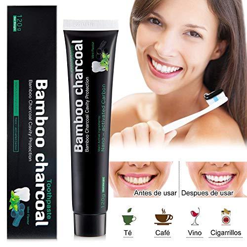 Orgánico Carbón Pasta de dientes - Betope Pasta Dentífrica, Blanqueamiento dental profesional, Libre de fluoruro, Elimina el Mal Aliento y las Manchas, Pasta de dientes de carbón de bambú natural