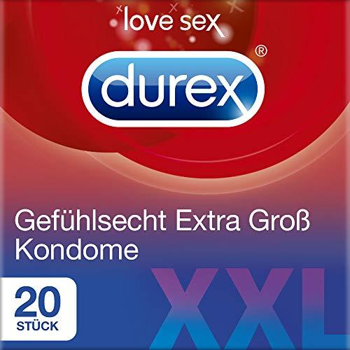 Durex Gefühlsecht Extra Groß Kondome – XXL Kondome für intensives Empfinden und innige Zweisamkeit – 20er Pack (2 x 10 Stück)