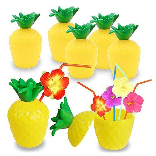 Geggur Ananas Becher Pineapple Cup Ananas Trinkbeche Trinkbecher Ananasbecher Tasse mit Stroh für Hawaii hawaiisch Luau Party Vorräte Sommer Strand Urlaub Kinder Thema Aktivität