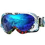 Skibrille Kinder, Outdoormaster Snowboardbrille mit Rahmen, Helmkompatible Schneebrille mit Dual-Layer Lens Technology, 100% OTG UV-Schutz Anti- Nebel Ski Goggles für Skifahren, Skaten, Snowboarden(Farbes Pattern + Blau (VLT 15%))
