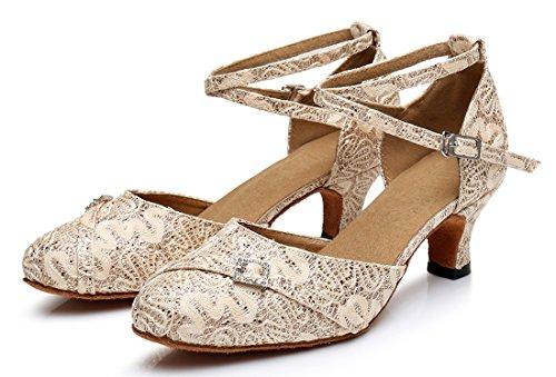 TDA ,  Damen Durchgängies Plateau Sandalen mit Keilabsatz 5cm Heel Beige