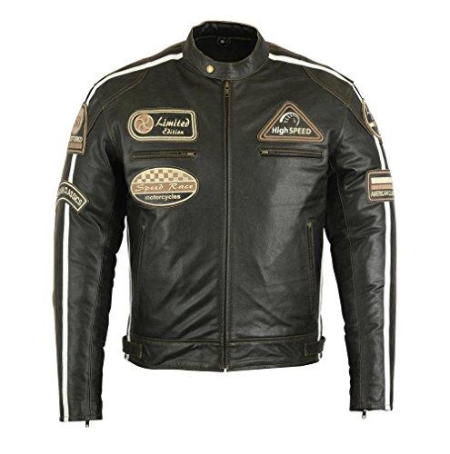 Herren Lederjacke, Motorrad Lederjacke, Bikerjacke, Rind Leder, (4XL)