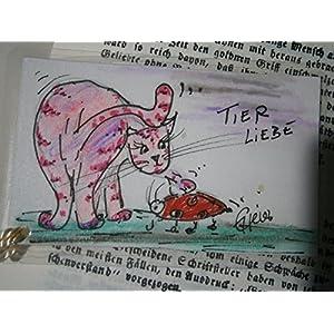 Lesezeichen Tierliebe Katze liebt Käfer handgemalt Original laminiert mit Quaste Geschenk, Geburtstagsgeschenk, Weihnachtsgeschenk