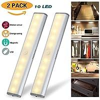 Recargable Luz Armario, Lámpara USB LED Barra de Luz LED Nocturna Inalámbrica con Sensor de Movimiento Wireless para Pasillo Baño Armario Cocina, Blanco Frío [Pack de 2] [Clase de eficiencia energética A+]