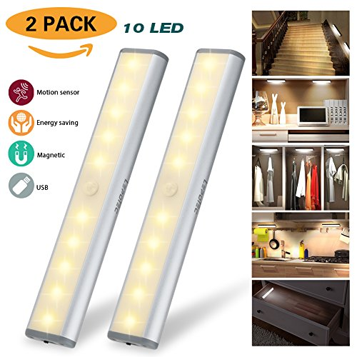 Luce Notturna a 10 Luci LED Luminose USB Ricaricabile Barra Luminosa Senza Fili con Sensore di Movimento Lampade per Cucina Guardaroba e Salotto Luminose Luce Automatica Notturna (bianco caldo-argento, 2 pacchi)