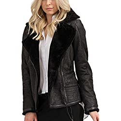 trueprodigy Casual Mujer marca Chaqueta De Cuero basico ropa retro vintage rock vestir moda deportivo manga larga slim fit designer cool urban fashion leather jacket aviador biker color negro