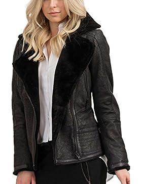 trueprodigy Casual Damen Marken Lederjacke echt Leder, Damenjacke cool und stylisch vintage (sportlich & Slim...