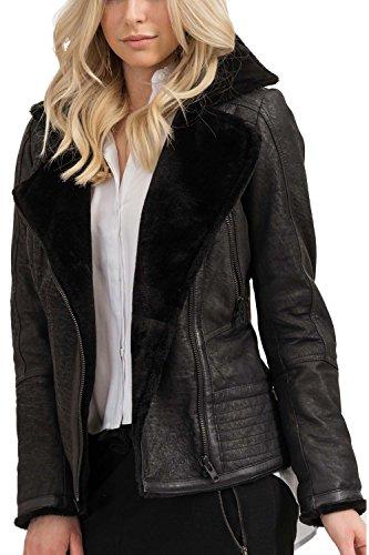 trueprodigy Casuale Donna Giubbotto di Pelle, Abbigliamento Urban Moda Vintage (sportiv & Slim Fit Classic), Giacca Moda Vestiti Colore: Nero 3773503-2999-S
