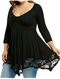 dfd12a59563b6a ABCone-Donna Pullover Felpa Pizzo Taglie Forti V-Collo T-Shirt Maniche  Lunghe Elegante Autunno Camicette Camicie…
