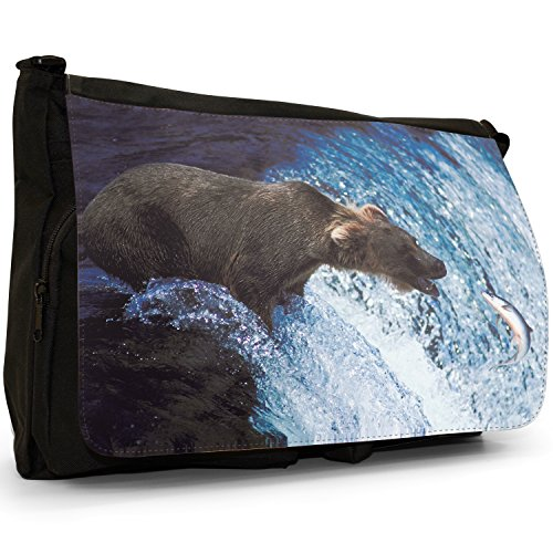 Fancy A Bag Borsa Messenger nero Bear Brown Bear Catching Salmon In Water