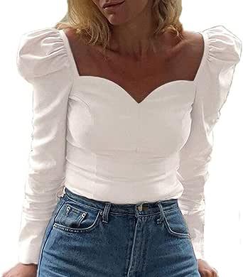 Donna Manica Lunga Camicetta, Tinta Unita Collo Quadrato Shirt Moda Maniche a Sbuffo Autunno Camicetta Casuale Camicia Tops