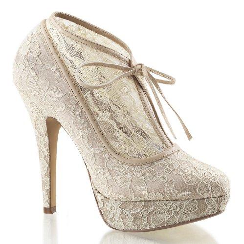 Pleaser, Zapatos De Tacón De Mujer De Encaje Y Satén De Champagne