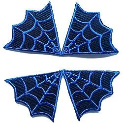 """Toppe termoadesive toppa per bambini jeans stoffa cucito patch ricamata ricamate adesiva applicazioni termoadesive """" net Spiderman 2 pezzi 9 x 9 cm complet """""""