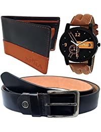 XPRA Analog Watch, Black Genuine Leather Belt & Black Leather Wallet For Men/Boys Combo (Pack Of 3) - (WL-3CMB...