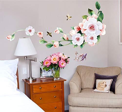 COVPAW® Wandtattoo Wandaufkleber XXL Rosa Rose Blumen Wandsticker Wandbild Bilder Wohnzimmer Schlafzimmer Deco - Rosen Rosa Bild