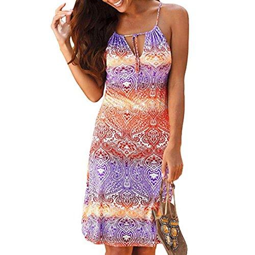 Kleider Damen Sommer Festlich Hochzeit Abendkleid LHWY Frauen Neckholder Boho Strandkleid Retro Print Sleeveless Beiläufige Mini Beachwear Kleid Sommerkleid Schlankes