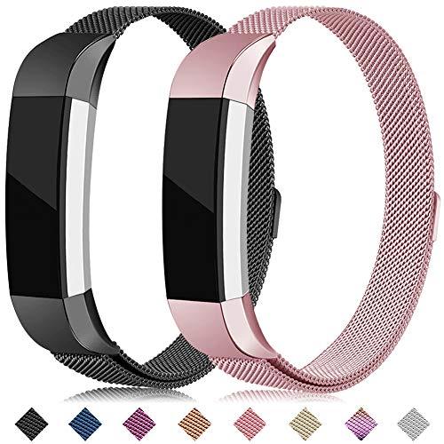 Onedream Kompatibel für Fitbit Alta Hr Armband Metall Edelstahl Ersatzarmband Uhrenarmband Zubehör Kompatibel für Fitbit Alta Hr/Alta Damen Herren Schwarz Rosa Rose Gold
