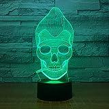 Affe Schädel Rauchen 3D LED Farbe Nachtlicht Ändern Lampe Mehrfarbige Blendlicht Acryl 3D Hologramm Illusion Schreibtischlampe