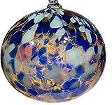 Oberstdorfer Glashütte Kugel zum hängen Bunte Glaskugel Ornament blau bunt Fensterdekoration mundgeblasenes Kristallglas Durchmesser ca.9 cm