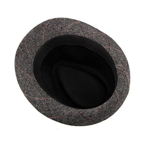 ACVIP Adulte Unisexe Chapeau Fedora Trilby à Bords Roulés Feutre aux Rayures Moderne Automne& Hiver Gris
