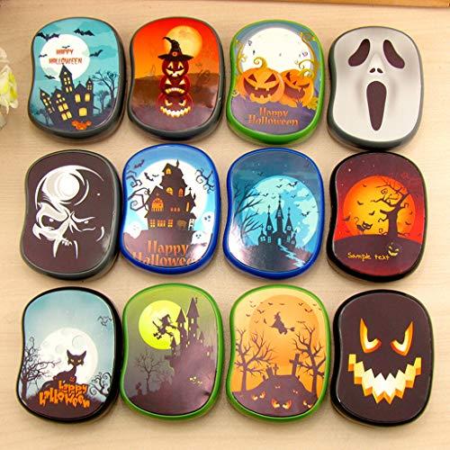 Lazder Halloween Kontaktlinsen-Etui, tragbare Augenpflege, Gläser, Brillenetui, Reise-Set, Aufbewahrungsbox, quadratischer Halter, Spiegel