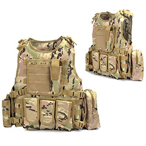 HEN COOL Jagd Tactical Weste Einstellbare Army Military Assault Combat Weste Airsoft Paintball Assault Plate Träger Weste Outdoor Jungle Game Schutzweste Mit Abnehmbaren Beuteln Camouflage 1
