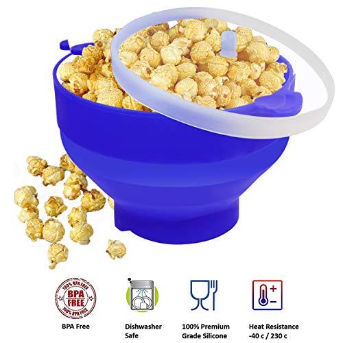 Sunwod Popcorn Popper, Popcorn Maker aus Silikon, faltbar, kreativ, hohe Temperaturbeständigkeit, großer Silikoneimer mit Deckel (Popcorn Popper Maker Party)