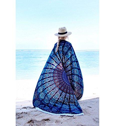 NANDNANDINI TEXTILE- Runde Mandala Tassel Fringe Indischer Kreis der Blumen Tapisserie Blue Beach Throw Roundie Tischdecke Strand Decke, Strandwurf, rundes Strandtuch Yoga Matte