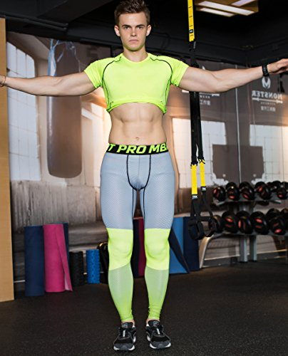 UrChoiceLtd® 2017gimnasio QX pantalones de correr para hombre pantalones de deporte para hombre de compresión entrenamiento ropa de secado rápido transpirable cómodo Leggings Base Elite Fitness térmico WOW, color Fluorescent gray, tamaño medium